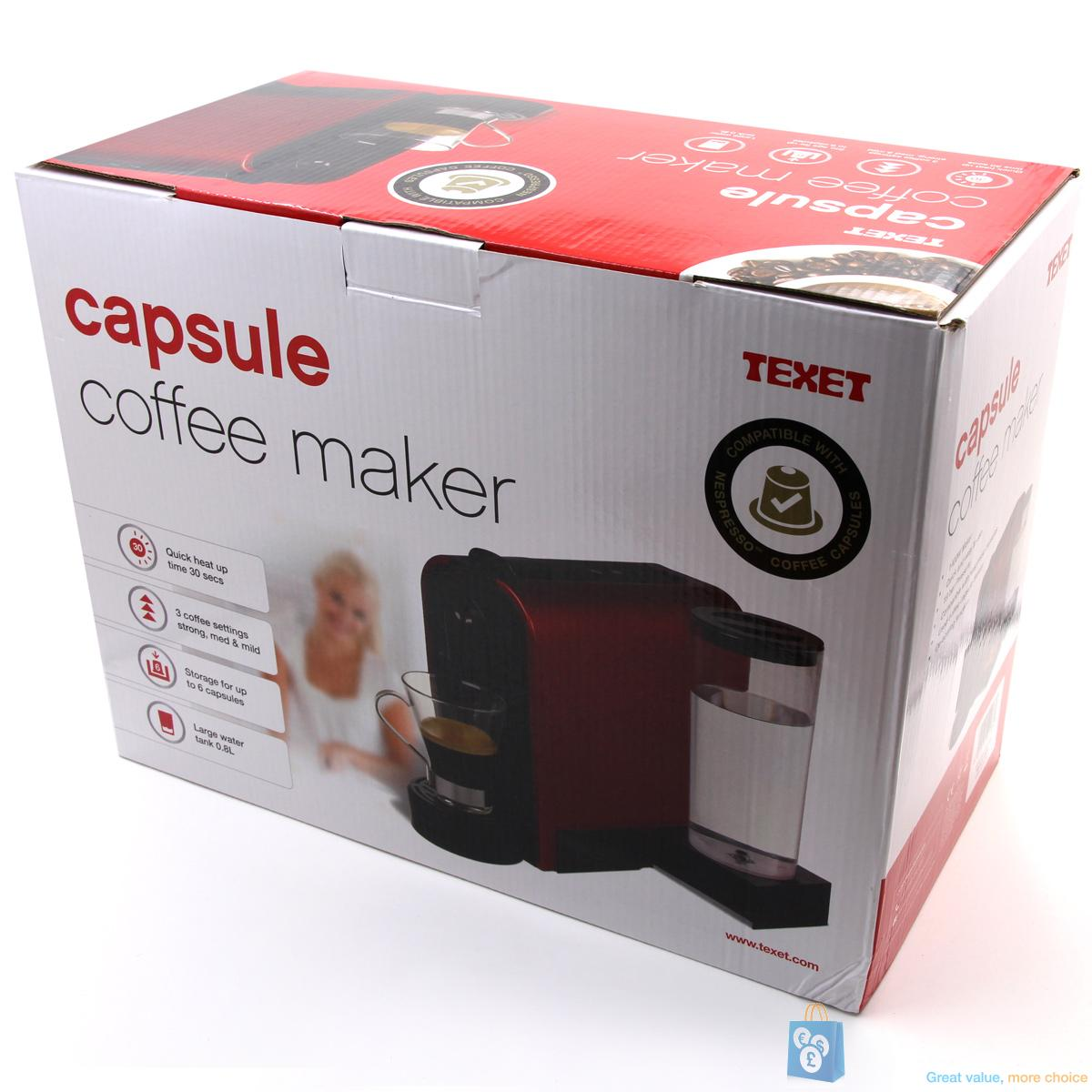 nespresso compatible capsule coffee maker by texet ebay. Black Bedroom Furniture Sets. Home Design Ideas
